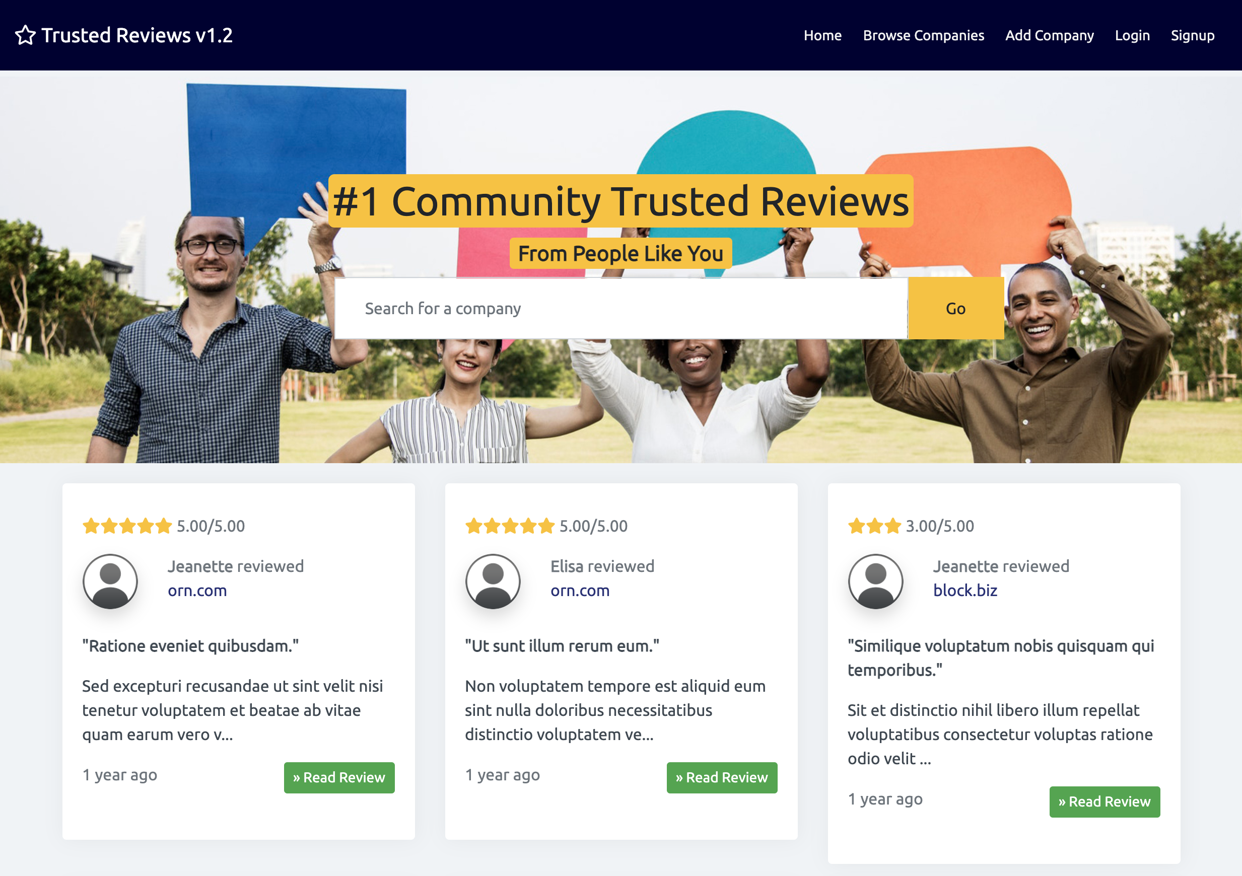 PHP Trusted Reviews - TrustPilot Clone - Cover Image