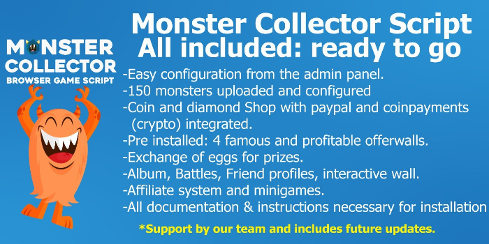 Monster Collector - Browser Game Php Script - Cover Image
