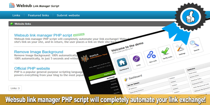 Websub reciprocal link manager PHP script - Cover Image