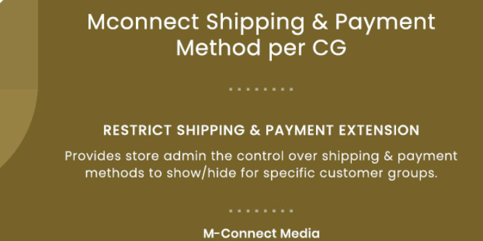 Shipping and Payment Method per Customer Group for Magento 2 - Cover Image
