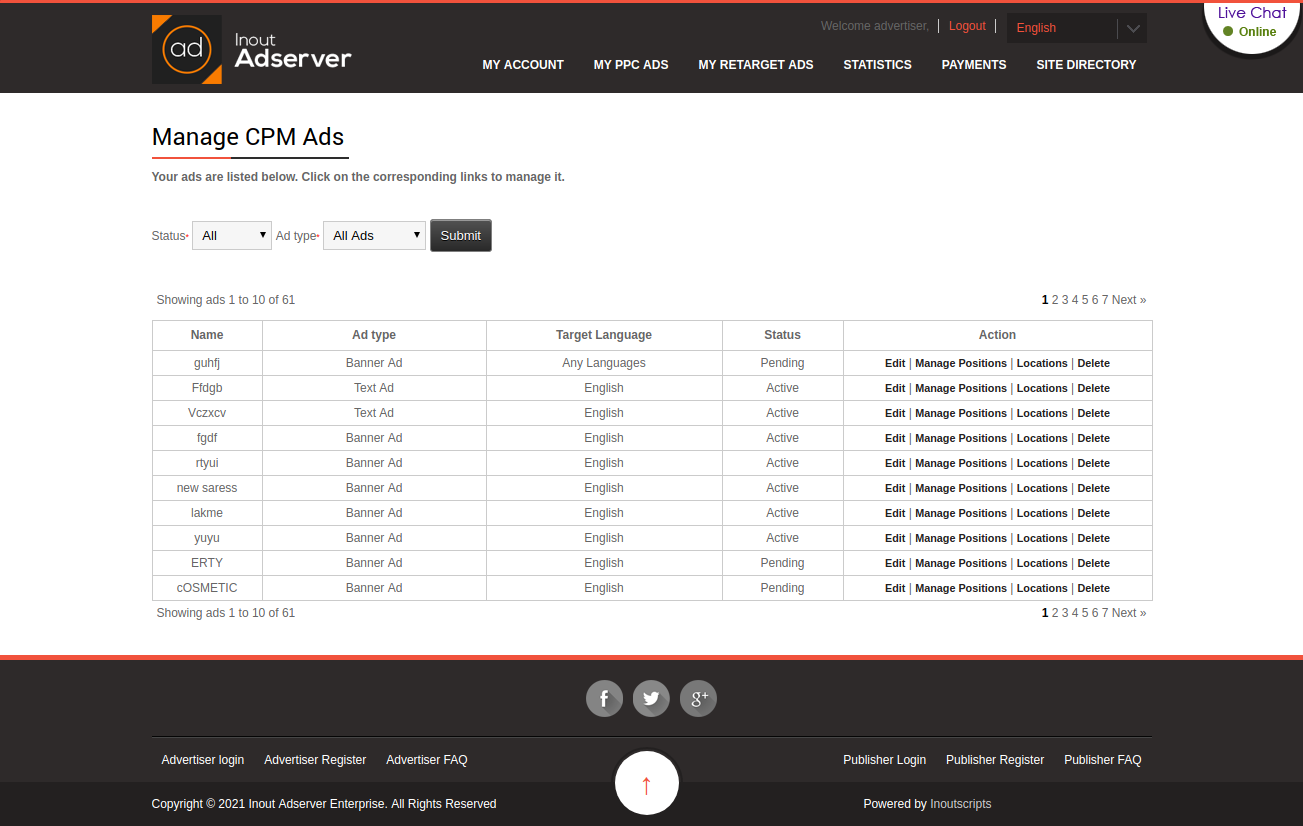 Cost Per Impression (CPM) Ads (for Inout Adserver) - Screenshot 1
