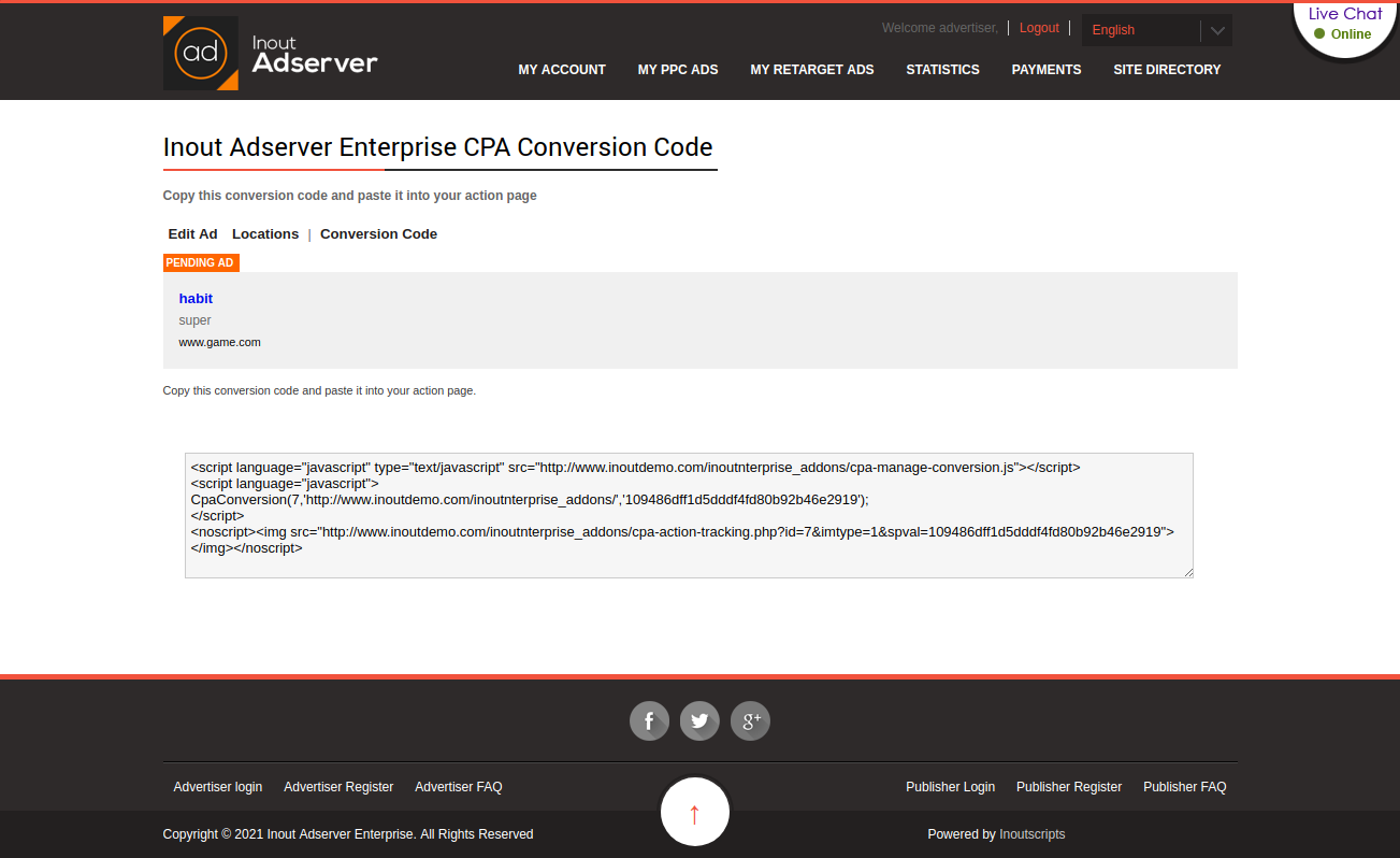 Cost Per Action (CPA) Ads (for Inout Adserver) - Screenshot 3