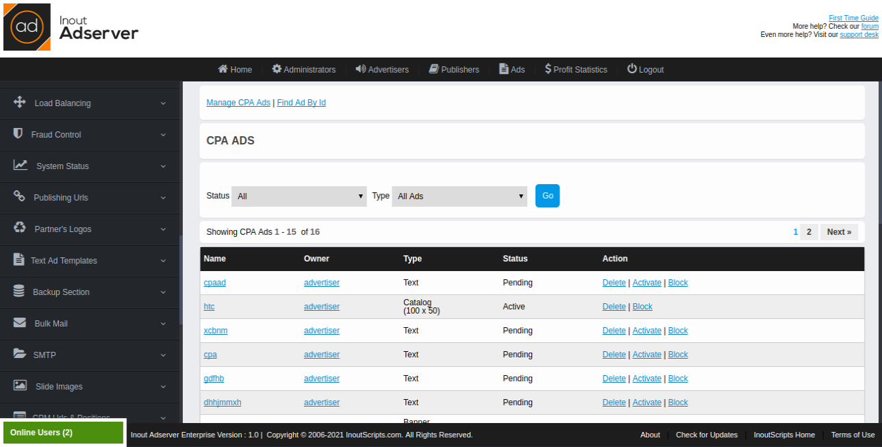 Cost Per Action (CPA) Ads (for Inout Adserver) - Screenshot 7