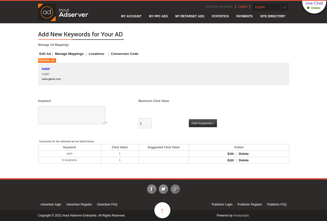 Cost Per Action (CPA) Ads (for Inout Adserver) - Screenshot 4