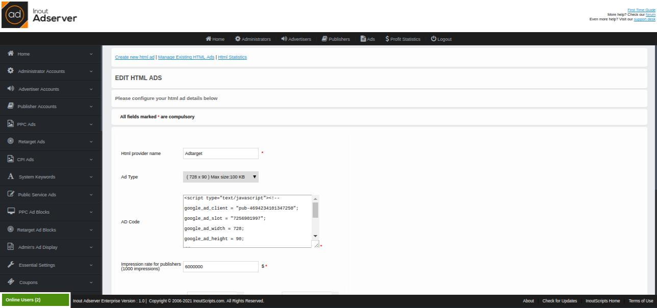 HTML Ads (for Inout Adserver) - Screenshot 4