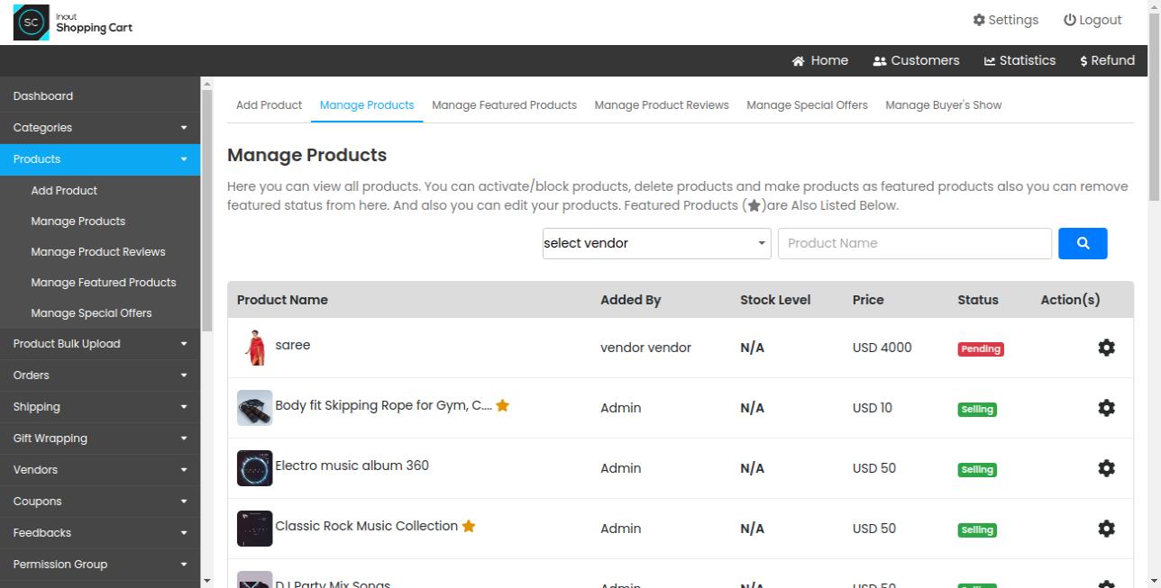 Inout Shopping Cart - Multi Vendor Edition - Screenshot 5