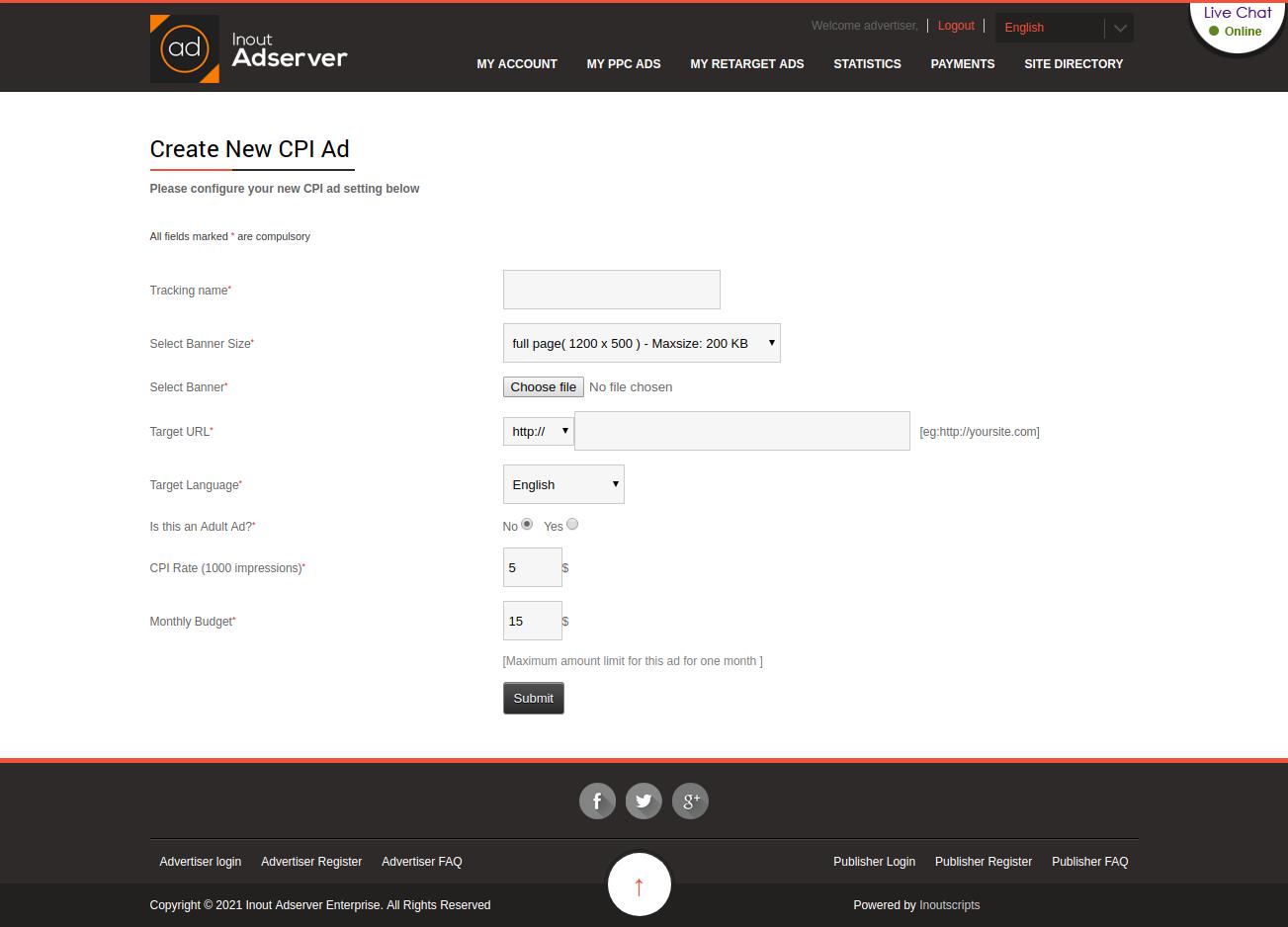 Cost Per Interstitial (CPI) Ads (for Inout Adserver) - Screenshot 1
